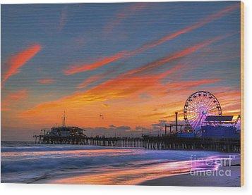 Santa Monica Pier At Dusk Wood Print by Eddie Yerkish