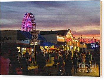 Santa Monica Pier At Sunset Wood Print by Diana Sainz