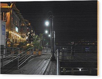 Wood Print featuring the digital art Santa Monica Pier by Gandz Photography