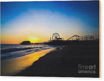 Santa Monica Pier Pacific Ocean Sunset Wood Print by Paul Velgos