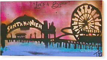 Santa Monica Pier Red Wood Print by Tony B Conscious
