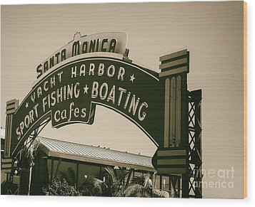 Santa Monica Pier Sign Wood Print by David Millenheft