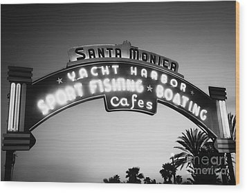 Santa Monica Pier Sign In Black And White Wood Print