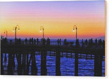 Santa Monica Pier Sunset Silhouettes Wood Print by Lynn Bauer
