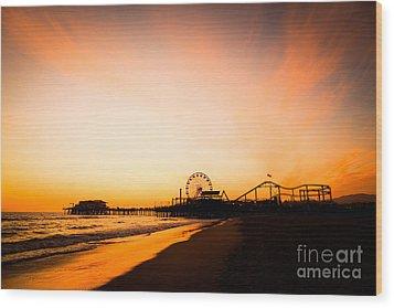 Santa Monica Pier Sunset Southern California Wood Print by Paul Velgos