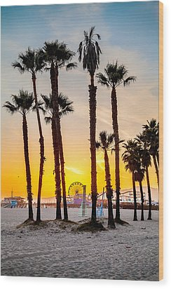Santa Monica Palms Wood Print