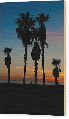 Santa Monica Sunset Wood Print