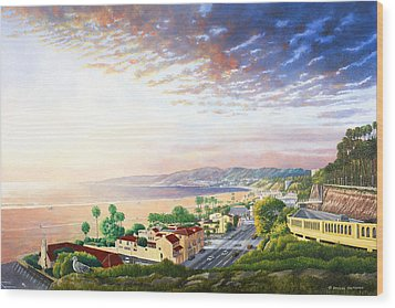 Santa Monica View North Wood Print by Douglas Castleman