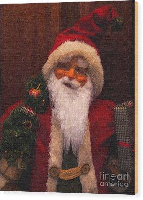 Santa Wood Print by Nancie DeMellia