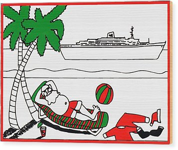 Santa On Vacation Wood Print by Genevieve Esson
