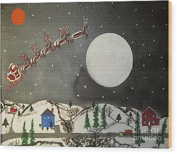 Wood Print featuring the painting Santa Over The Moon by Jeffrey Koss