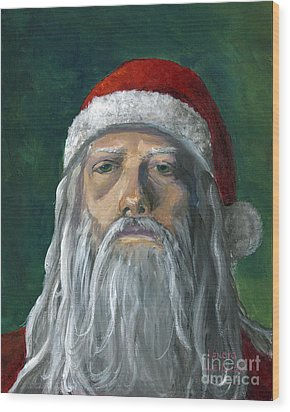 Santa Portrait Art Red And Green Wood Print by Lenora  De Lude
