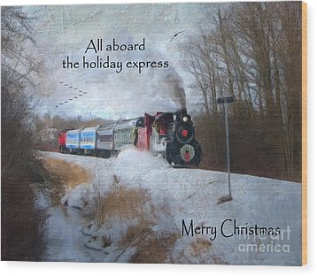 Wood Print featuring the digital art Santa Train - Waterloo Central Railway by Lianne Schneider