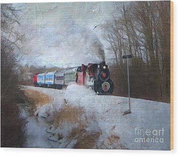 Wood Print featuring the digital art Santa Train - Waterloo Central Railway No Text by Lianne Schneider