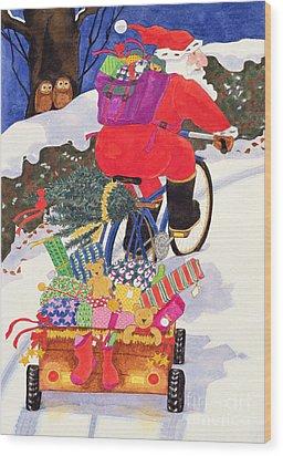 Santas Bike Wood Print by Linda Benton