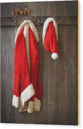 Santa's Coat Wood Print by Amanda Elwell