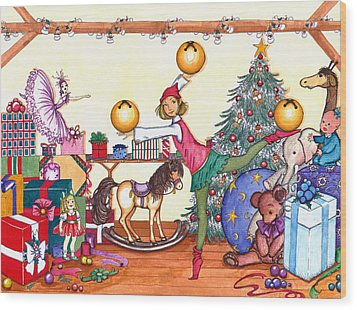 Wood Print featuring the painting Santa's Giftwrapper by Katherine Miller