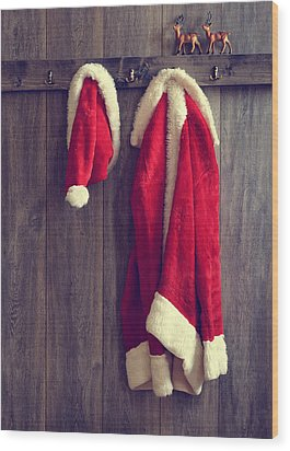 Santa's Hat And Coat Wood Print by Amanda Elwell