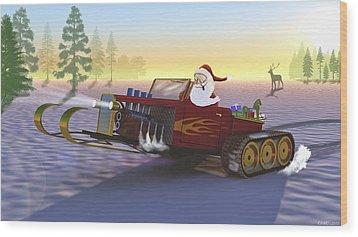 Santa's New Sleigh Wood Print by Ken Morris