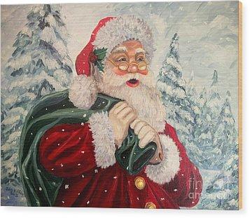 Santa's On His Way Wood Print