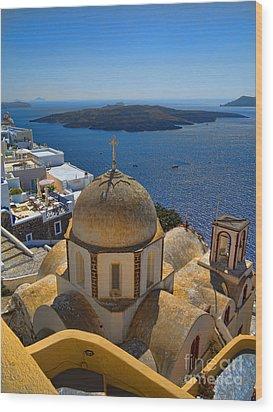 Santorini Caldera With Church And Thira Village Wood Print