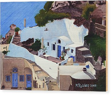 Santorini Cave Homes Wood Print by Mike Robles