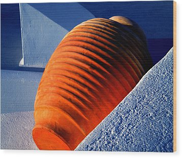 Wood Print featuring the photograph Santorini  Ceramics Pot Greece by Colette V Hera  Guggenheim