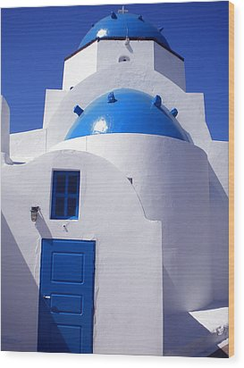 Wood Print featuring the photograph Santorini Church  by Colette V Hera  Guggenheim