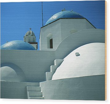 Wood Print featuring the photograph Santorini Church Greece by Colette V Hera  Guggenheim