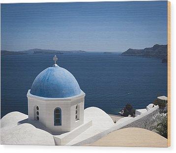 Santorini Church On A Summer Day Wood Print