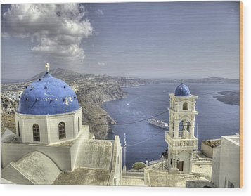 Santorini Churches Wood Print by Alex Dudley