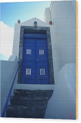 Santorini Door  To Heaven  Wood Print
