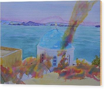 Santorini Fire Wood Print by Warren Thompson