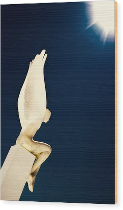 Santorini Guardian Wood Print by Meirion Matthias