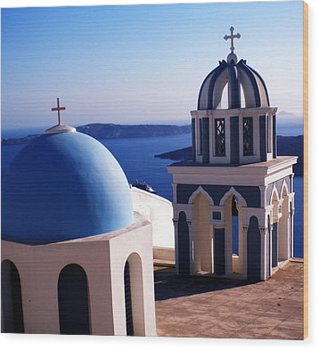 Wood Print featuring the photograph Santorini  Island Church Greece  by Colette V Hera  Guggenheim