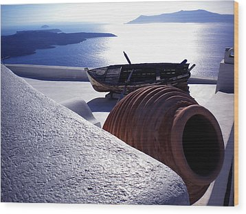 Santorini Island Early Sunset View Greece Wood Print