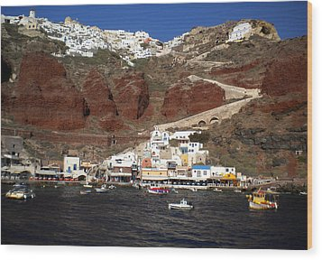 Santorini  Island  View To Oia Greece Wood Print
