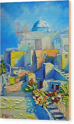 Santorini Light Wood Print