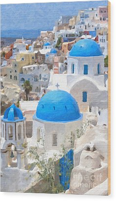 Santorini Oil Painting Wood Print