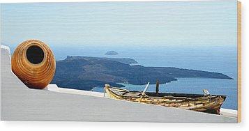 Santorini Rooftop Wood Print by Corinne Rhode