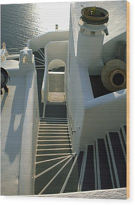 Wood Print featuring the photograph Santorini Stairs by Colette V Hera  Guggenheim