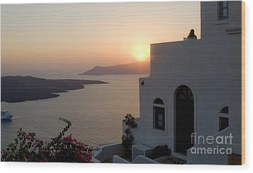 Santorini Sunset 24x14 Wood Print by Leslie Leda
