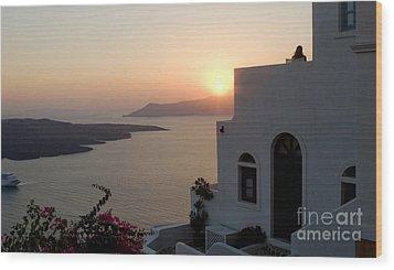 Santorini Sunset 24x14 Wood Print
