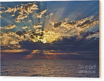 Wood Print featuring the photograph Santorini Sunset by Shirley Mangini
