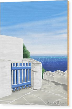 Santorini Wood Print by Veronica Minozzi