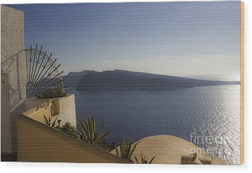 Santorini View 24x14 Wood Print by Leslie Leda