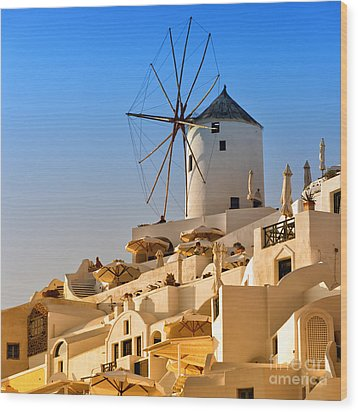 Santorini Windmill 05 Wood Print