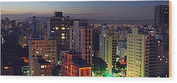 Sao Paulo Downtown At Dusk Wood Print