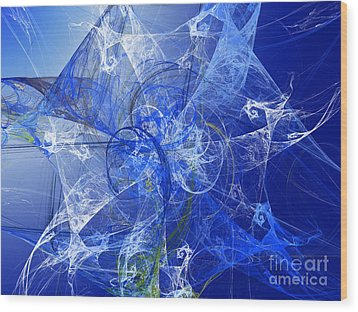 Sapphire In Blue Lace Wood Print by Andee Design