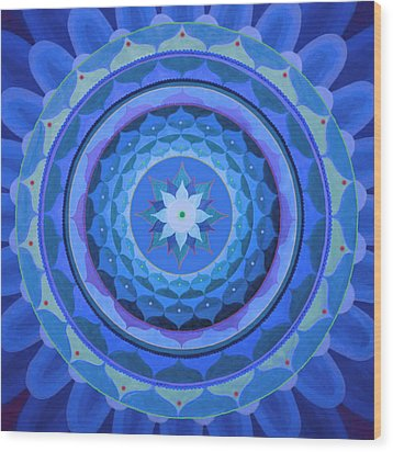 Sapphire Mandala Wood Print by Vlatka Kelc